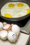 Fried eggs cooking Royalty Free Stock Images