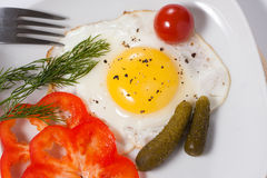 Fried eggs with cucumbers, tomato, pepper and greens. Fried eggs with salty vegetables and greens Royalty Free Stock Image