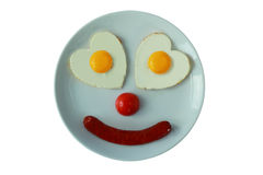 Fried eggs on a dish as a caricature of person Royalty Free Stock Photos