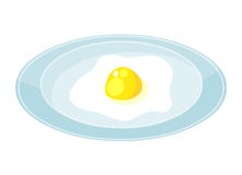 Fried eggs on dish isolated illustration Royalty Free Stock Photo