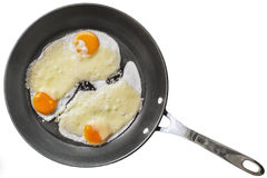 Fried Eggs with Edam Cheese in Teflon Frying Pan Isolated on White Background Royalty Free Stock Photography