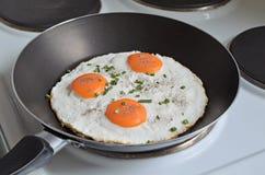Fried Eggs en una cacerola fotos de archivo libres de regalías