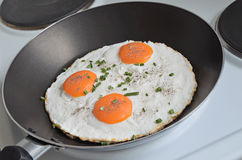 Fried Eggs en una cacerola imágenes de archivo libres de regalías
