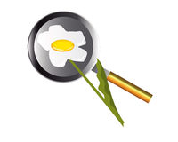 Fried eggs in in the form of a camomile. Frying pan with fried eggs in view of daisies on a white background Stock Photo