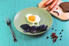 Fried eggs in the form of chicken Royalty Free Stock Image