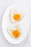 Fried eggs in the form of heart, top view, vertical Royalty Free Stock Photography
