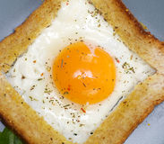 Fried eggs in French. With crackling bread and spices Royalty Free Stock Image
