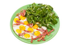 Fried eggs with Fried Bacon and Watercress Stock Photos