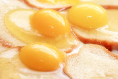 Fried eggs and fried bread Royalty Free Stock Photography