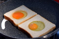 Fried eggs  in a frying pan. Royalty Free Stock Image