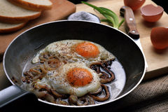Fried eggs in the frying pan Stock Photography