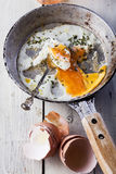 Fried eggs on frying pan Royalty Free Stock Photos
