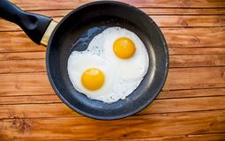 Fried eggs in a frying pan royalty free stock photo