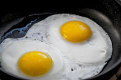 Fried eggs in a frying pan royalty free stock photos