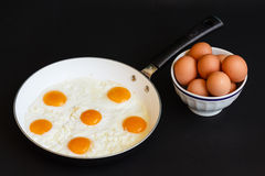 Fried eggs in frying pan. For  lunch or dinner to cook fried eggs in a fryng pan as a food protein Stock Photography
