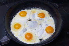 Fried eggs in a frying pan. On the stove Royalty Free Stock Photo