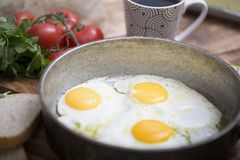 Fried eggs in a frying pan with tomatoes, milk and butter for breakfast. On a wooden background Stock Photos