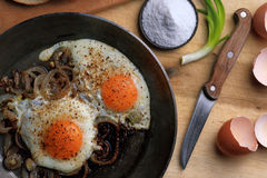 Fried eggs in the frying pan Royalty Free Stock Photos