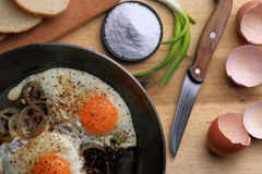 Fried eggs in the frying pan Stock Photos