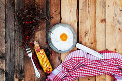 Fried eggs in a frying pan on wooden background. Breakfast. Healthy food. Fried eggs. Fried egg on a pan . Rustic food style. Ripe Stock Photo