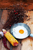 Fried eggs in a frying pan on wooden background. Breakfast. Healthy food. Fried eggs. Fried egg on a pan . Rustic food style. Ripe Royalty Free Stock Photos