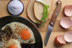 Fried eggs in the frying pan Stock Image