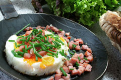 Fried eggs with ham Royalty Free Stock Photography