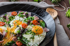 Fried eggs with ham and herbs Royalty Free Stock Photo