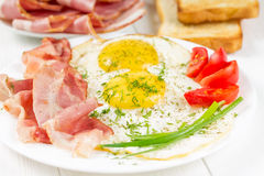 Fried eggs with ham Royalty Free Stock Image