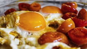 Fried eggs, healthy, breakfast, vegetable, fried, tomato royalty free stock images