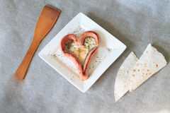 Fried eggs heart , sausages hearts Stock Image