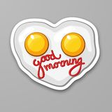 Fried eggs in heart shape. Scrambled egg. Good morning. Healthy food. Cartoon sticker in comic style with contour stock illustration