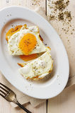 Fried eggs with herbs Stock Images