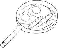 Fried eggs and hotdog coloring page Royalty Free Stock Photography
