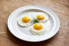 Free Fried Eggs In Plate On Table Stock Images - 71487254