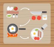 Fried eggs making process, preparing food icons Royalty Free Stock Photos