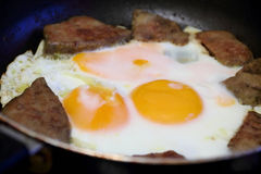 Fried eggs and meat for breakfast Royalty Free Stock Photos