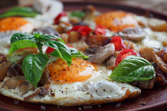 Fried eggs with mushrooms, tomatoes and basil on rustic wooden t. Able. Natural food concept Stock Image
