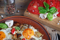 Fried eggs with mushrooms, tomatoes and basil on rustic wooden t. Able. Natural food concept Stock Images