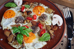 Fried eggs with mushrooms, tomatoes and basil on rustic wooden t. Able. Natural food concept Royalty Free Stock Photos