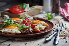 Fried eggs with mushrooms, tomatoes and basil on rustic wooden t. Able. Natural food concept Stock Photos