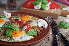 Fried eggs with mushrooms, tomatoes and basil on rustic wooden t. Able. Natural food concept Stock Photo