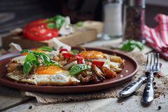 Fried eggs with mushrooms, tomatoes and basil. On rustic wooden table. Natural food concept Stock Photos