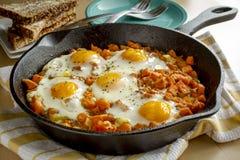 Fried Eggs och sötpotatispölsa royaltyfri foto