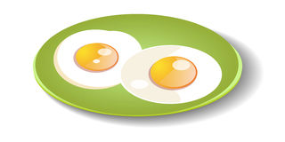 Free Fried Eggs On A Plate. Stock Photography - 44830292