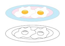 Free Fried Eggs On A Plate, Coloring Page. Vector Illustration. Stock Photo - 123486540