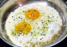 Fried eggs in pan Royalty Free Stock Images