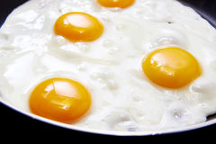 Fried eggs on pan Royalty Free Stock Photos