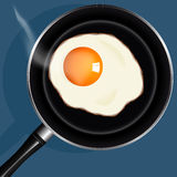 Fried eggs in pan with handle on table, top view Stock Photos