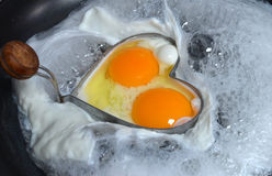 Fried eggs pan shaped Stock Images
